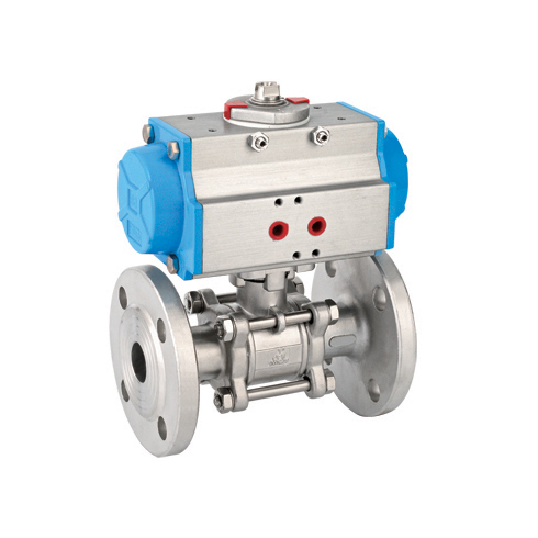 Three panel flange pneumatic ball valve