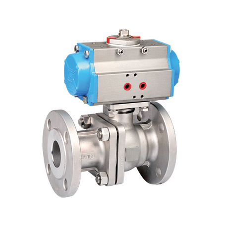 Two chip flange pneumatic ball valve